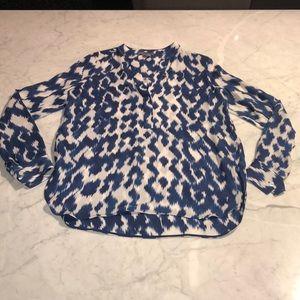 Vince 100% silk ikat print blouse